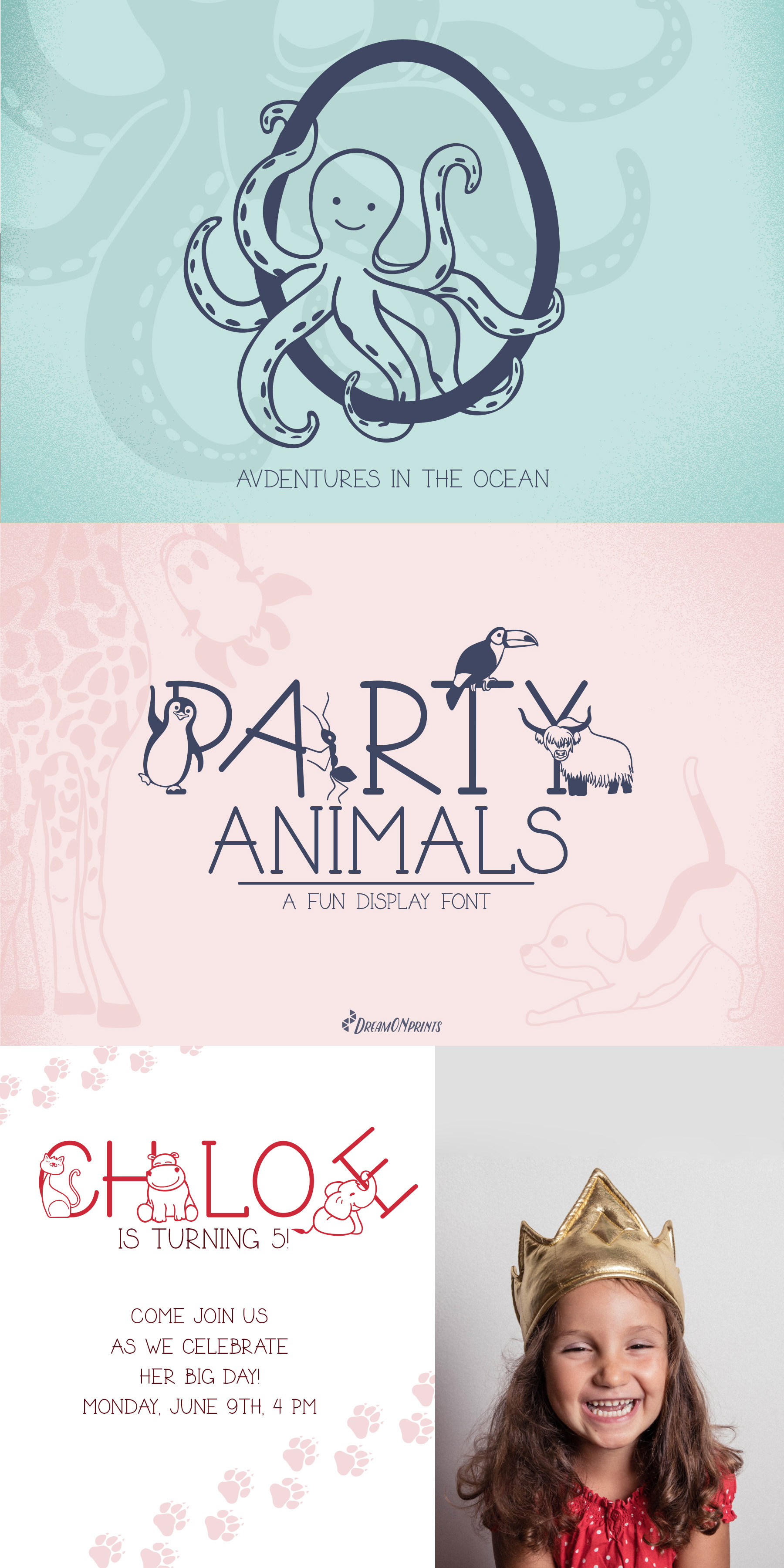 Party Animals - A Fun Display Font example image 7