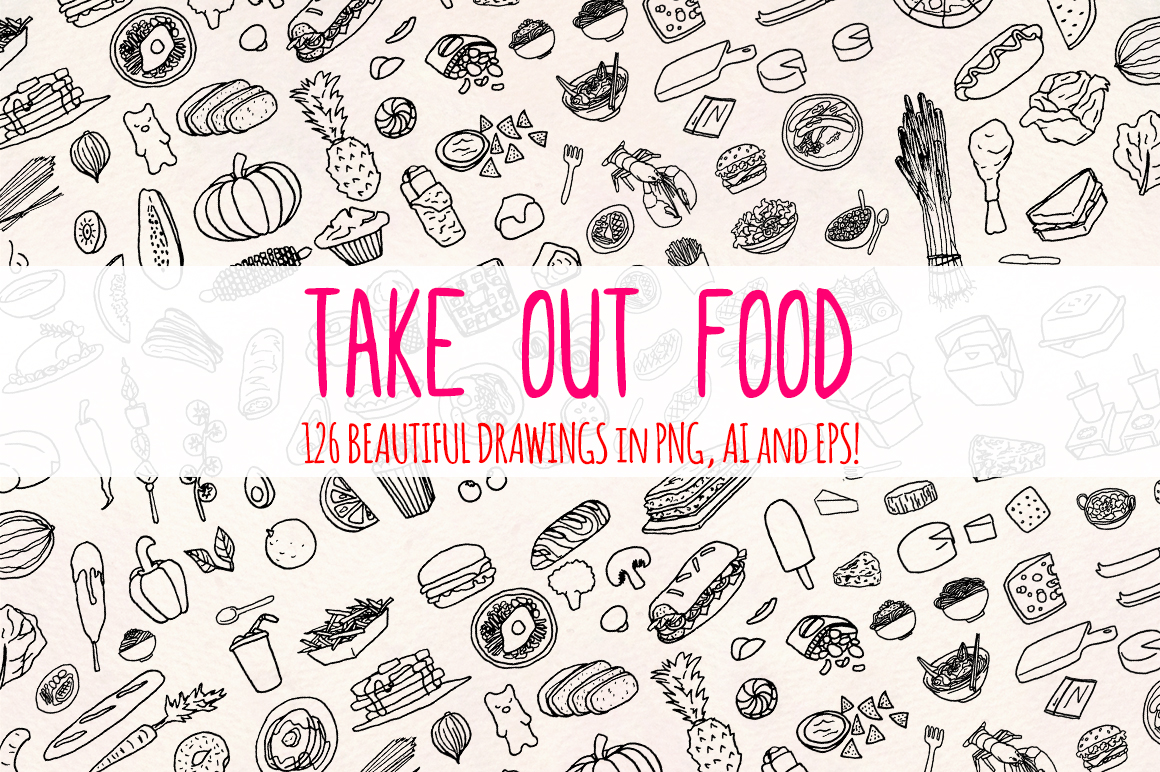 120 Hand Drawn Kitchen and Food Illustrations example image 1