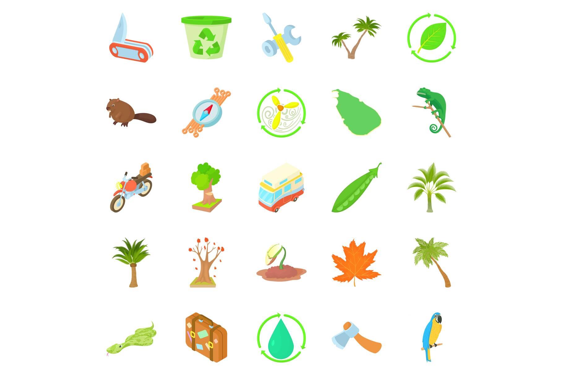 Tourist meeting icons set, cartoon style example image 1