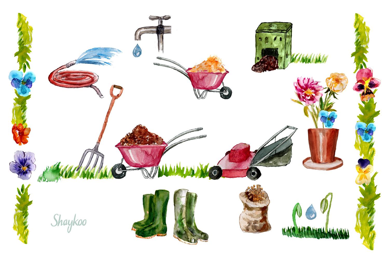 Garden Tools Watercolor Hand Painted Clipart, Spring Garden example image 3