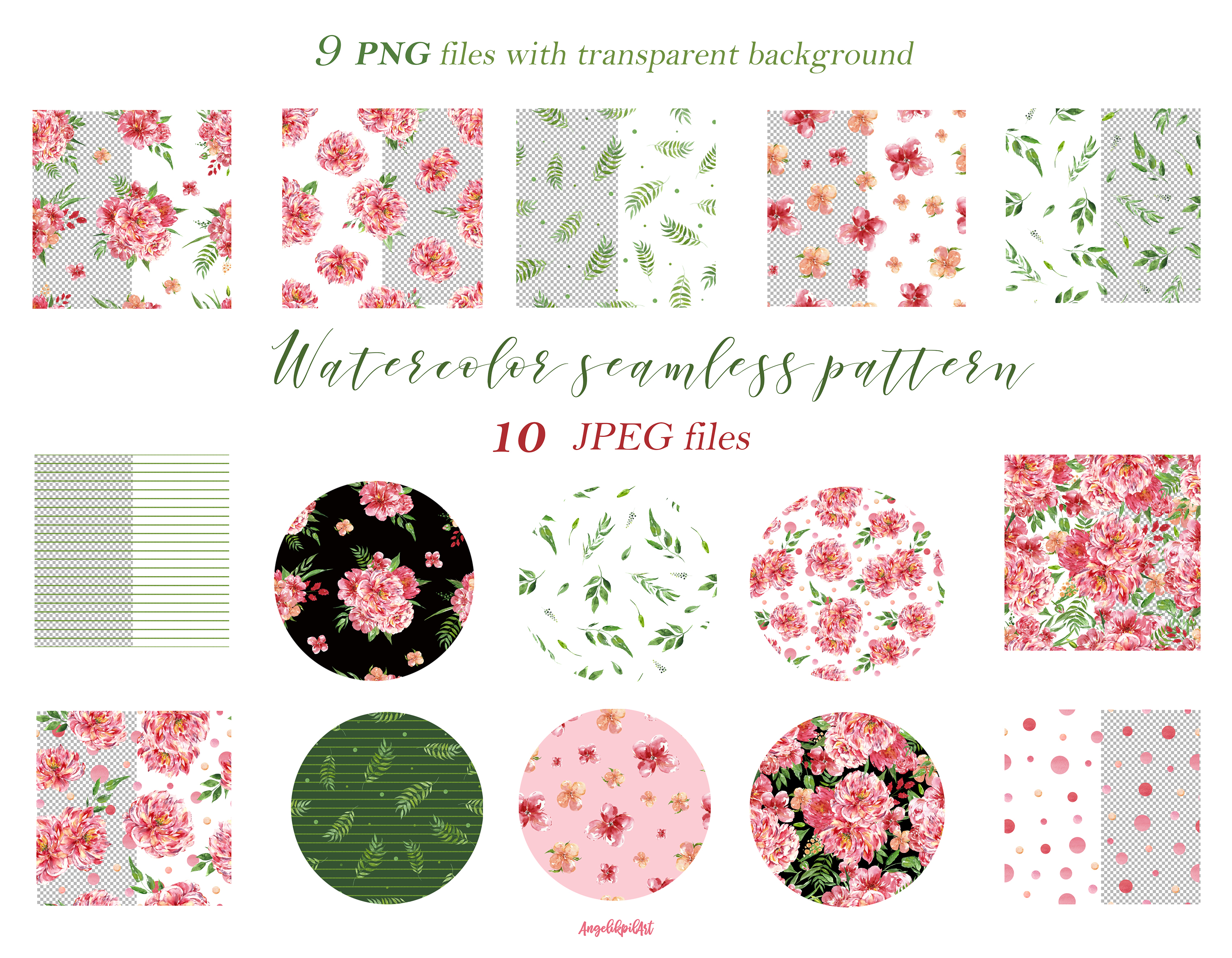 Watercolor pink flowers Clip Art example image 8