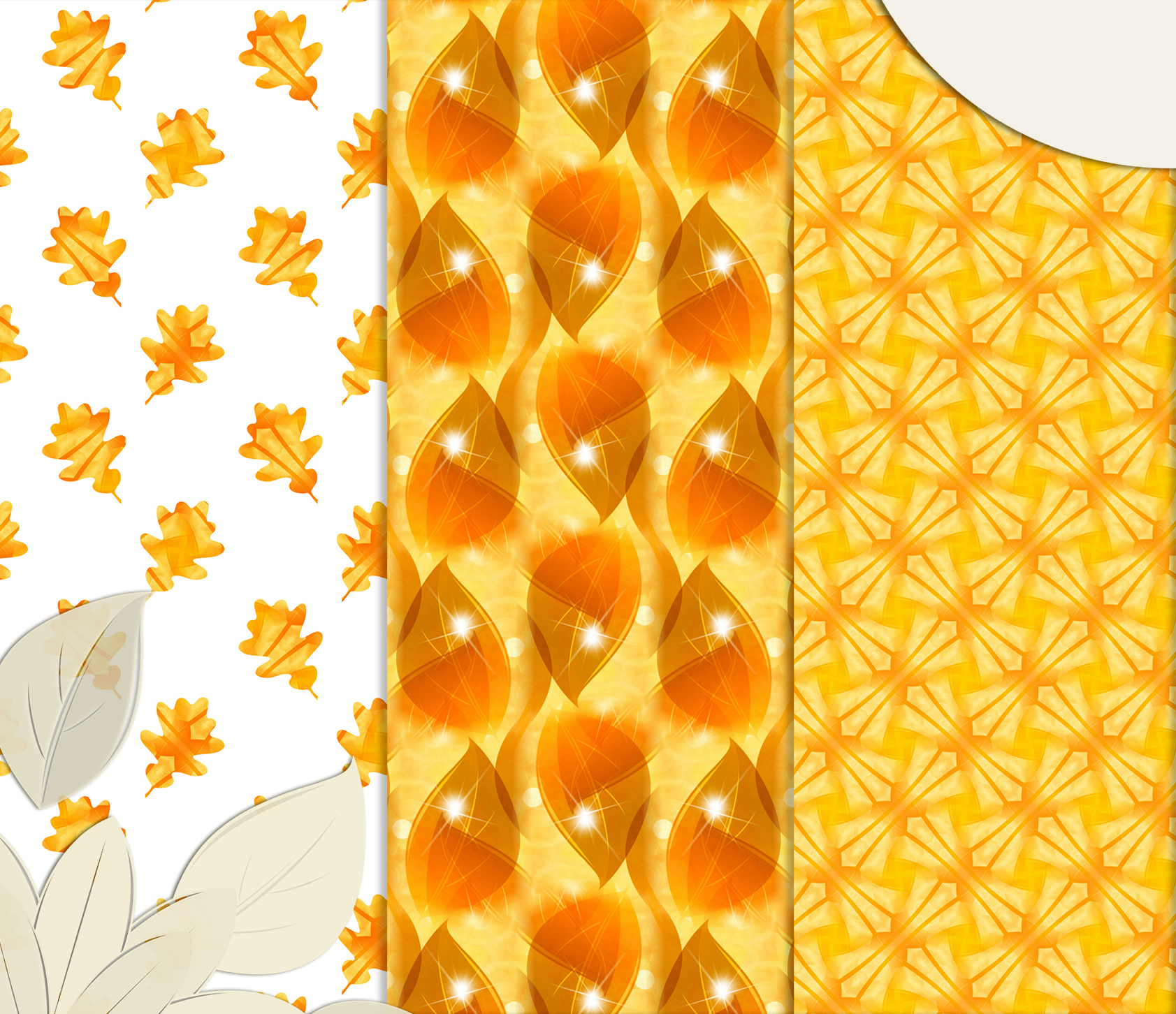 Golden-Yellow leaves, Autumn digital paper. example image 3