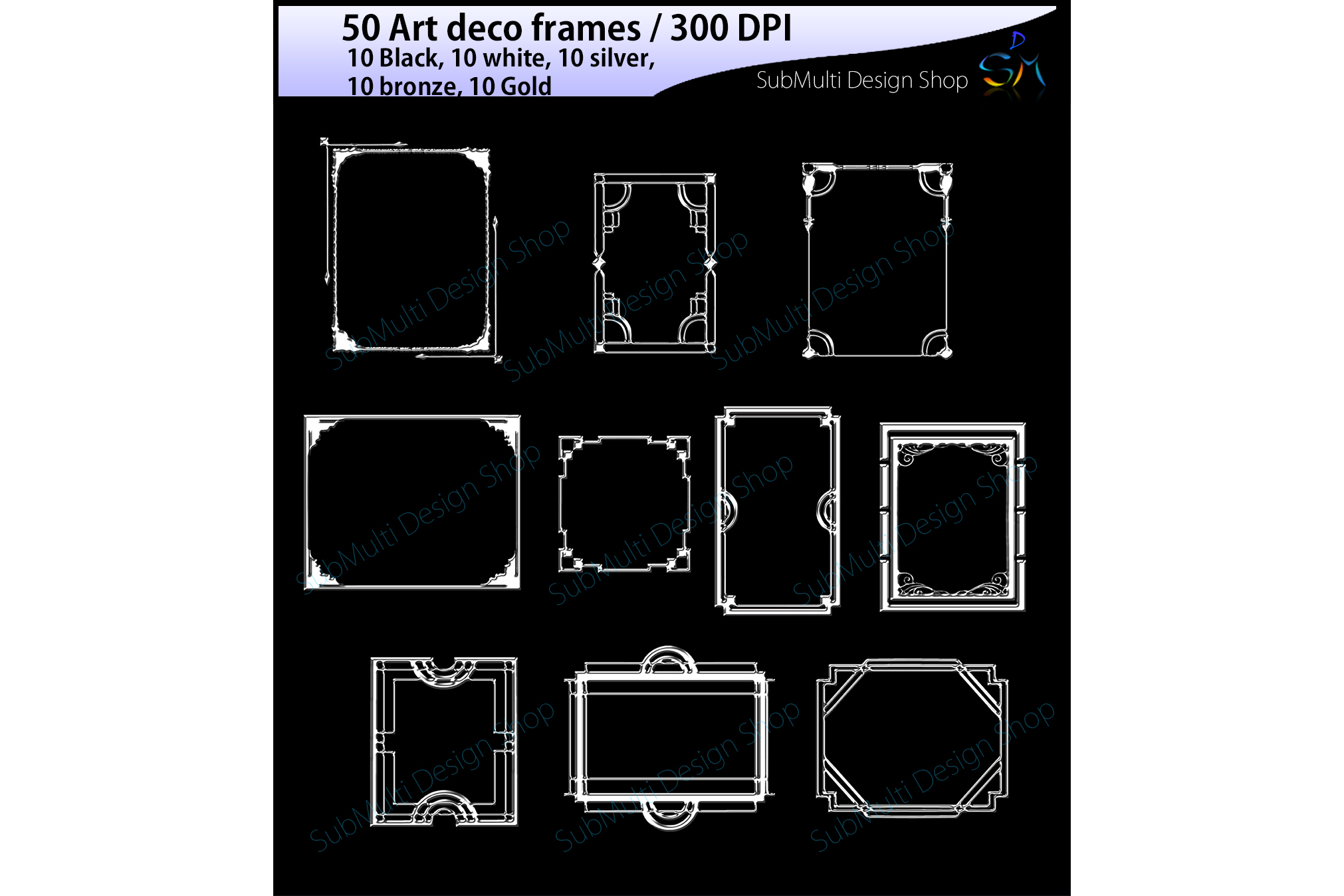 art deco frames / art deco frames clipart / art deco frames silhouette / art deco gold frames / art deco silver frame / digital/High Quality example image 4