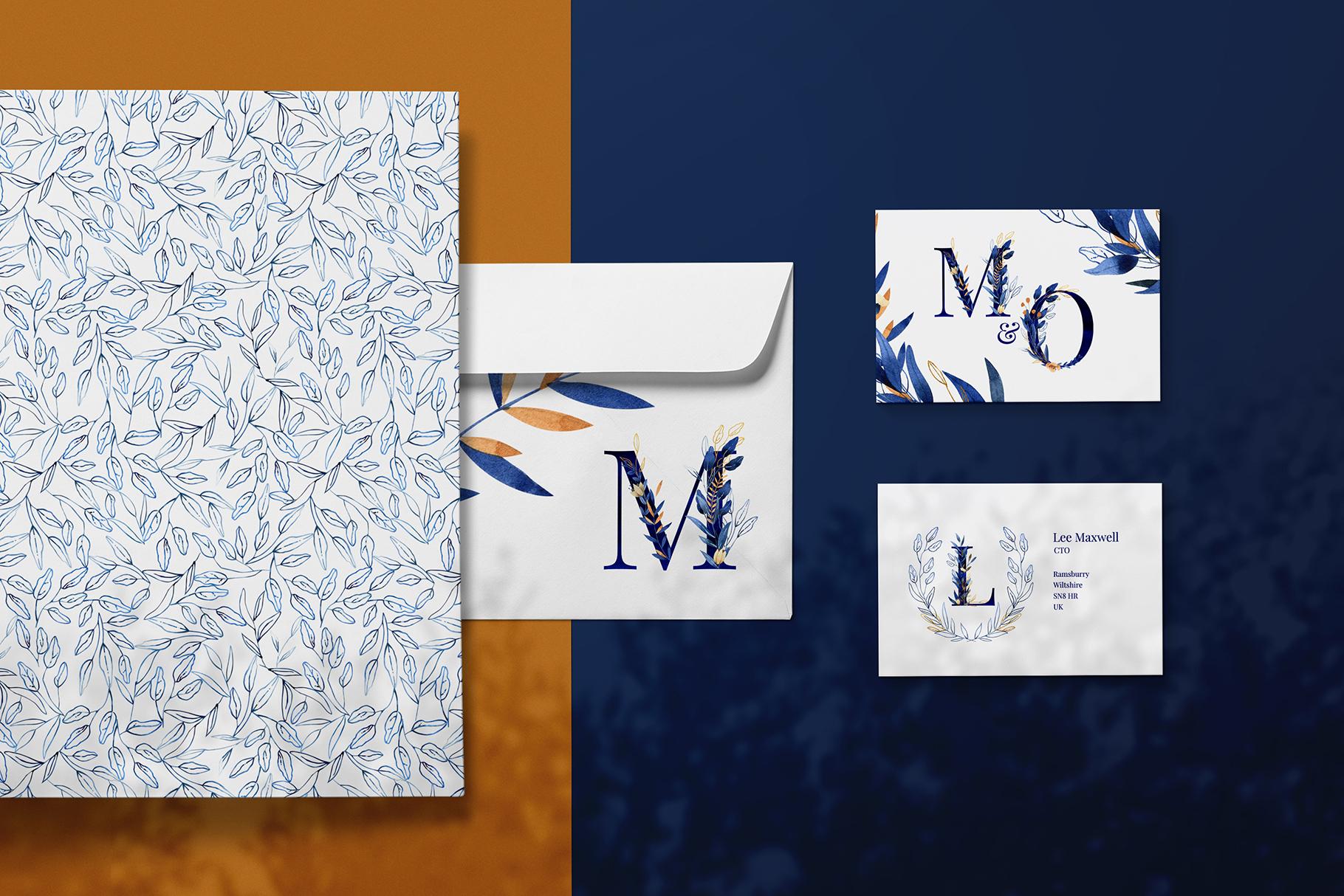 Deep Blue Alphabet Watercolor Design Kit example image 12