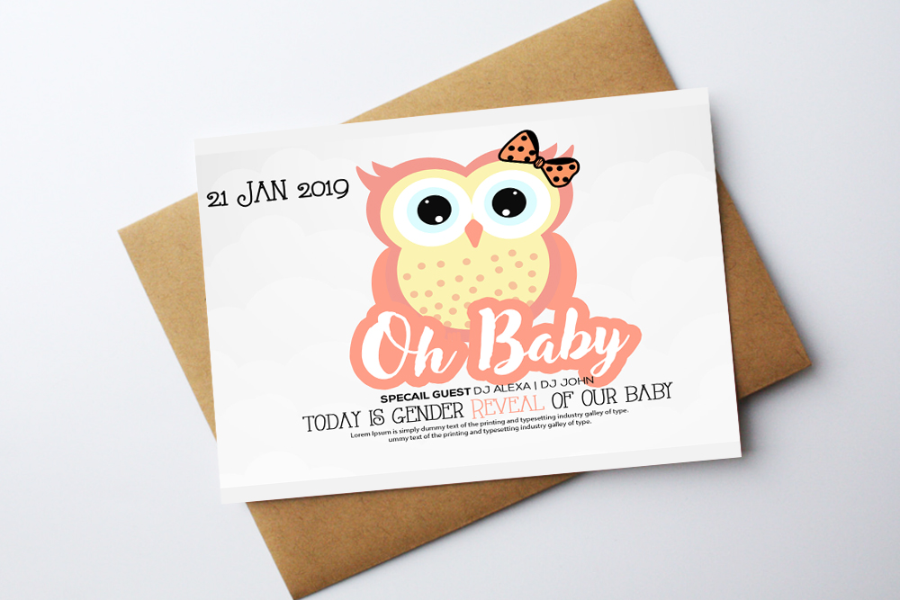 Oh Baby Shower Invitation Card Template example image 1