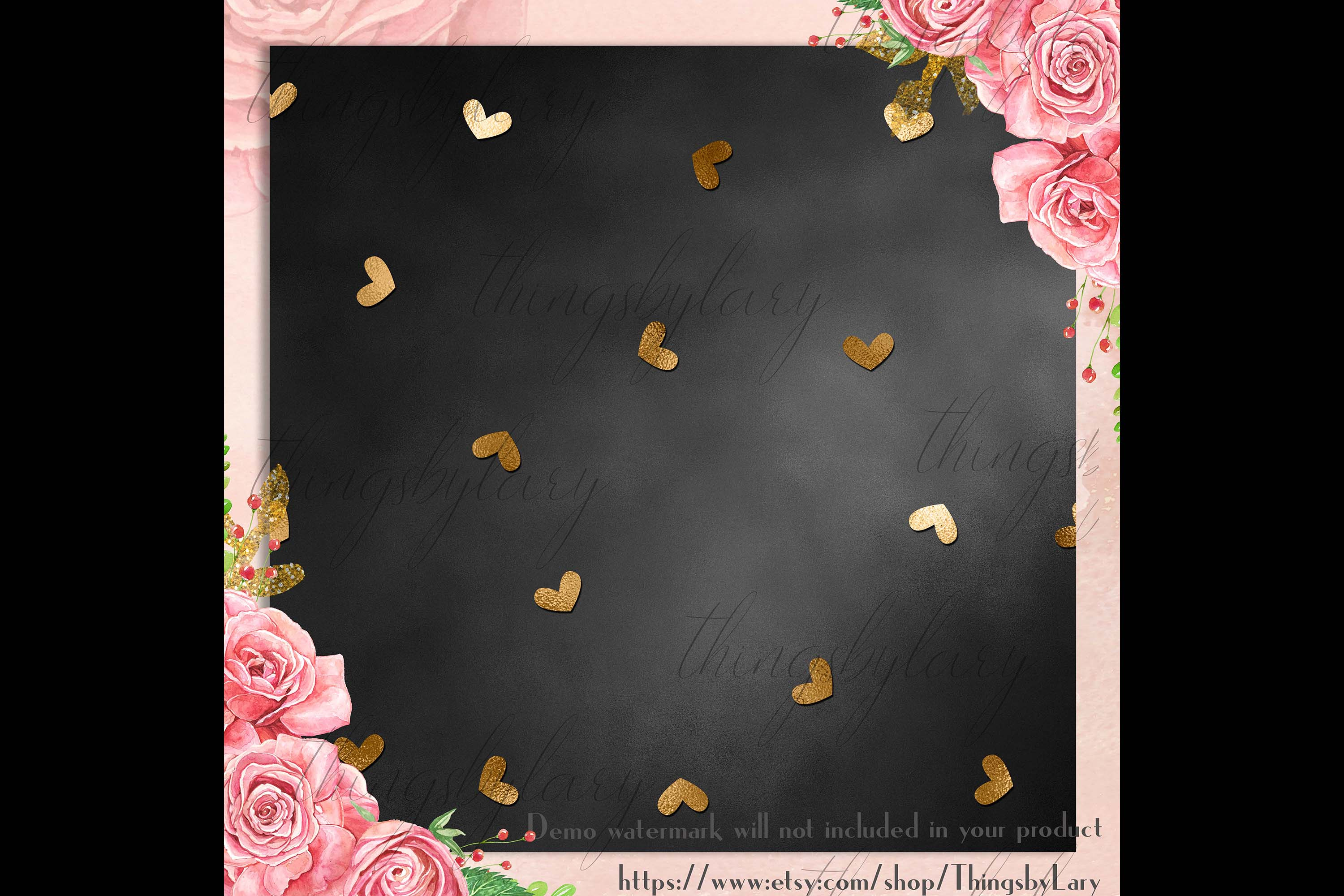 30 Black and Gold Valentine Love Heart Digital Papers Card example image 8