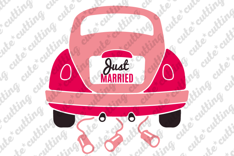 Just married, Just married car, wedding car svg, dxf, png example image 1