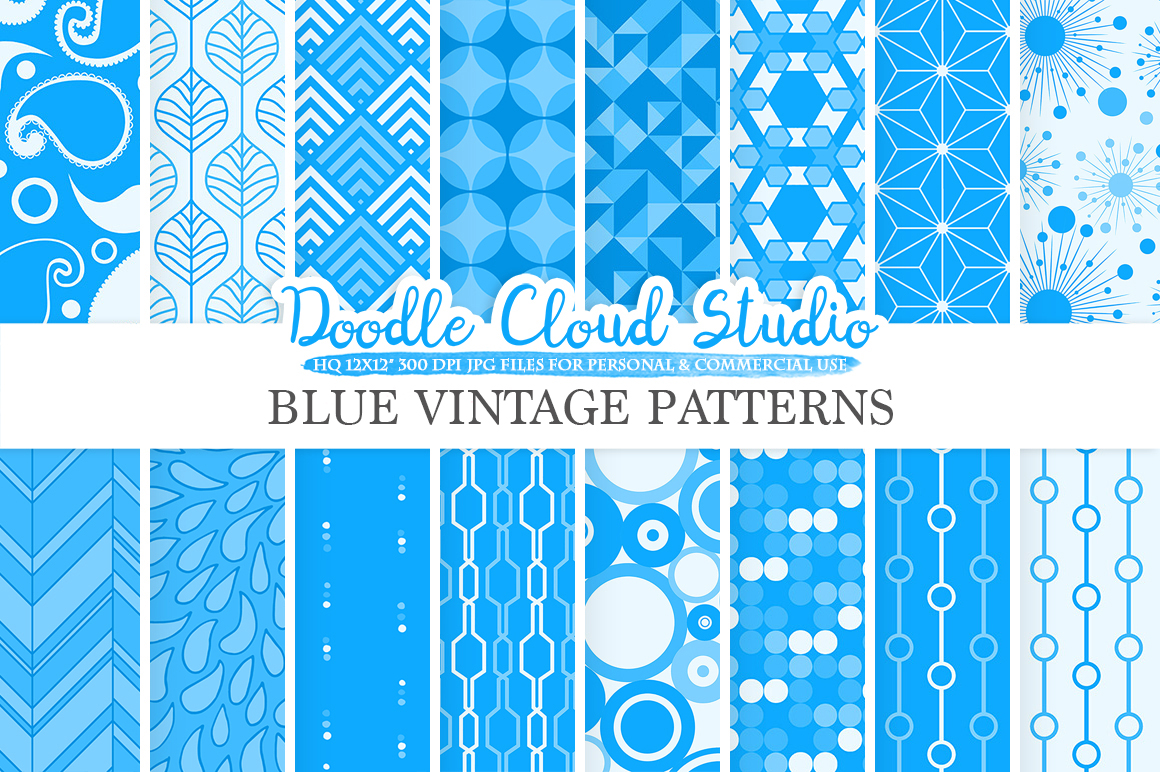 Blue Retro digital paper, Geometric Vintage patterns, Blue digital backgrounds, Instant Download, for Personal & Commercial Use example image 1
