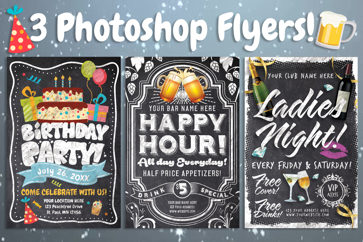 Chalk Party Flyer Bundle 30 off example image 1