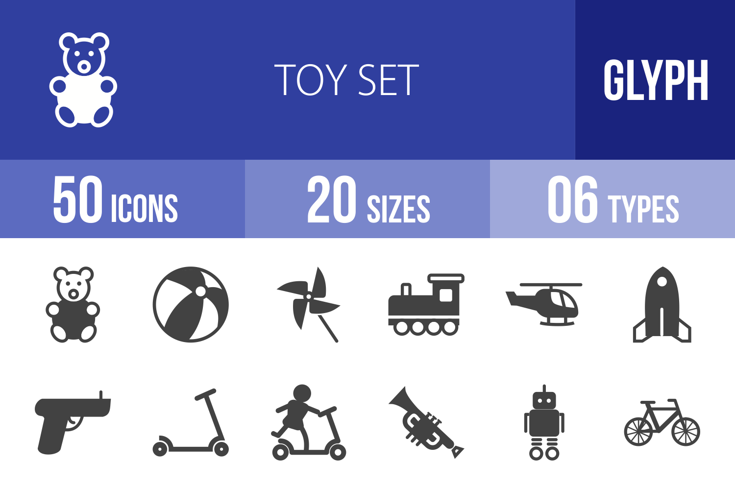 50 Toy Set Glyph Icons example image 1