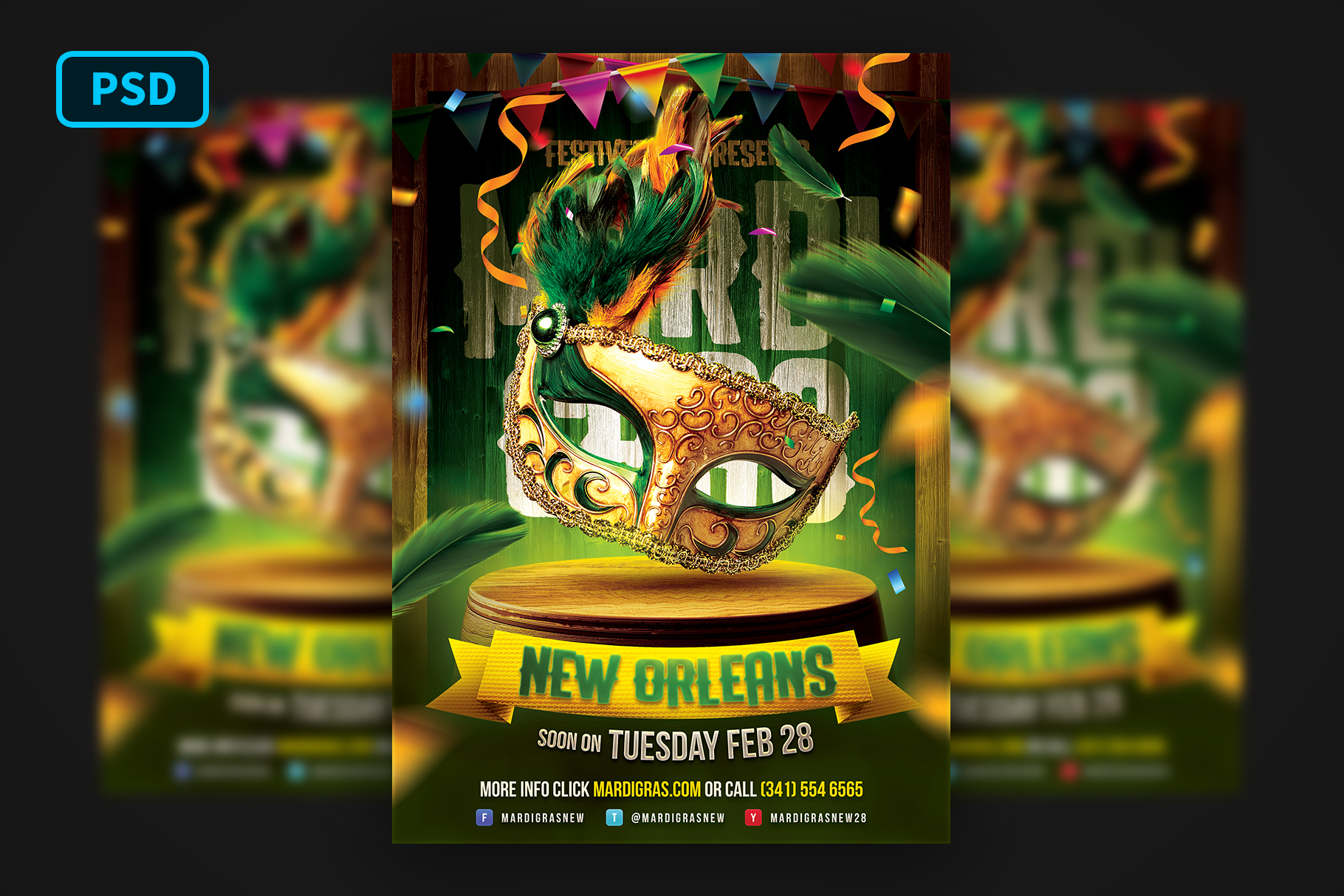 Mardi Gras Carnival Flyer example image 1