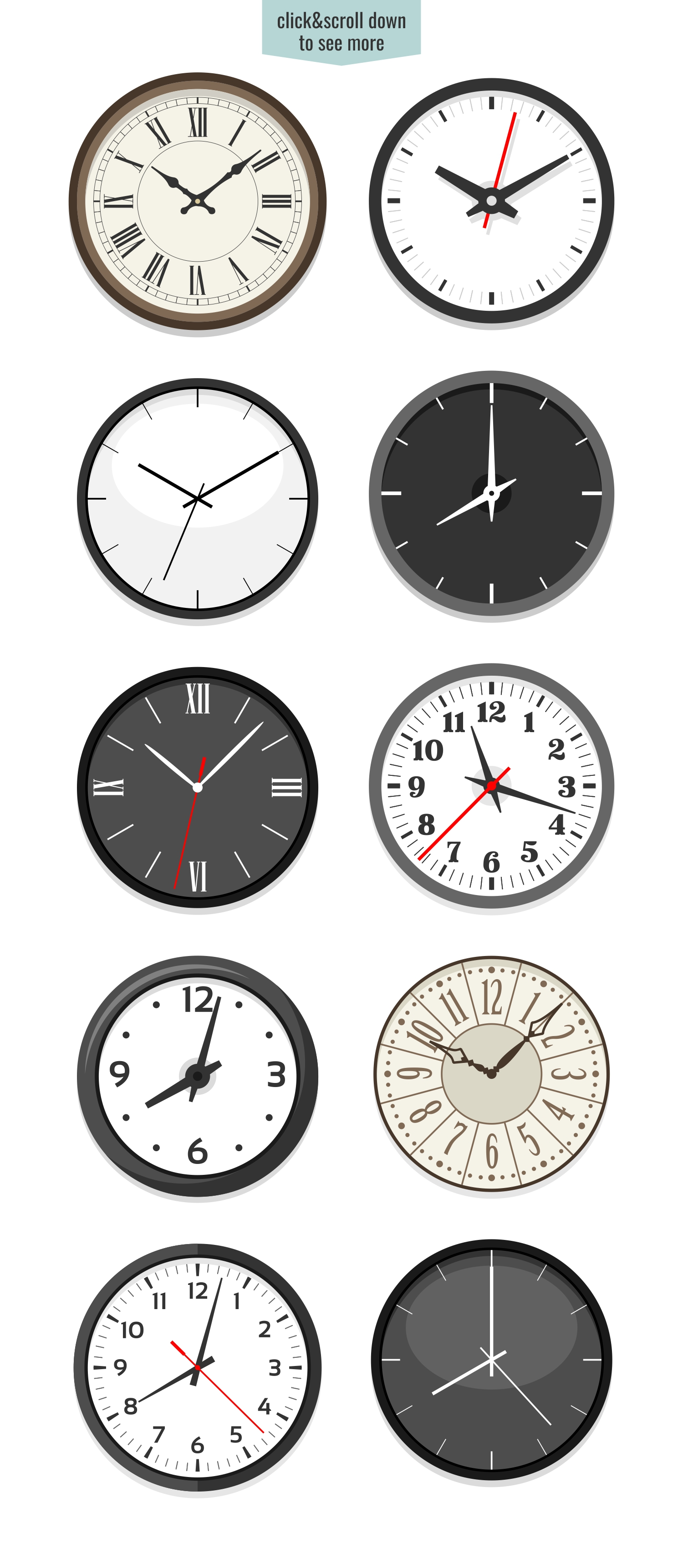 10 clock face illustrations example image 2