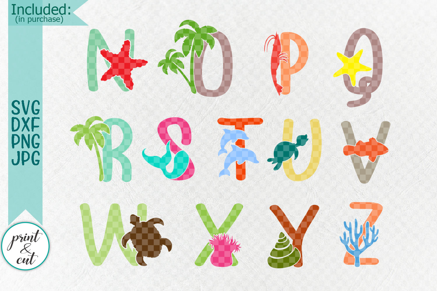 Under the sea Monogram font duo clipart svg dxf cut files example image 3