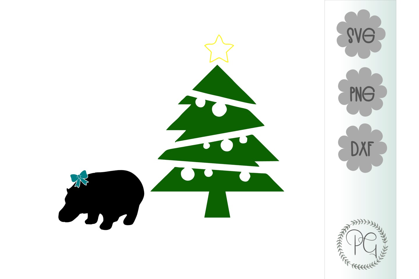 Hippo For Christmas SVG PNG DXF example image 2