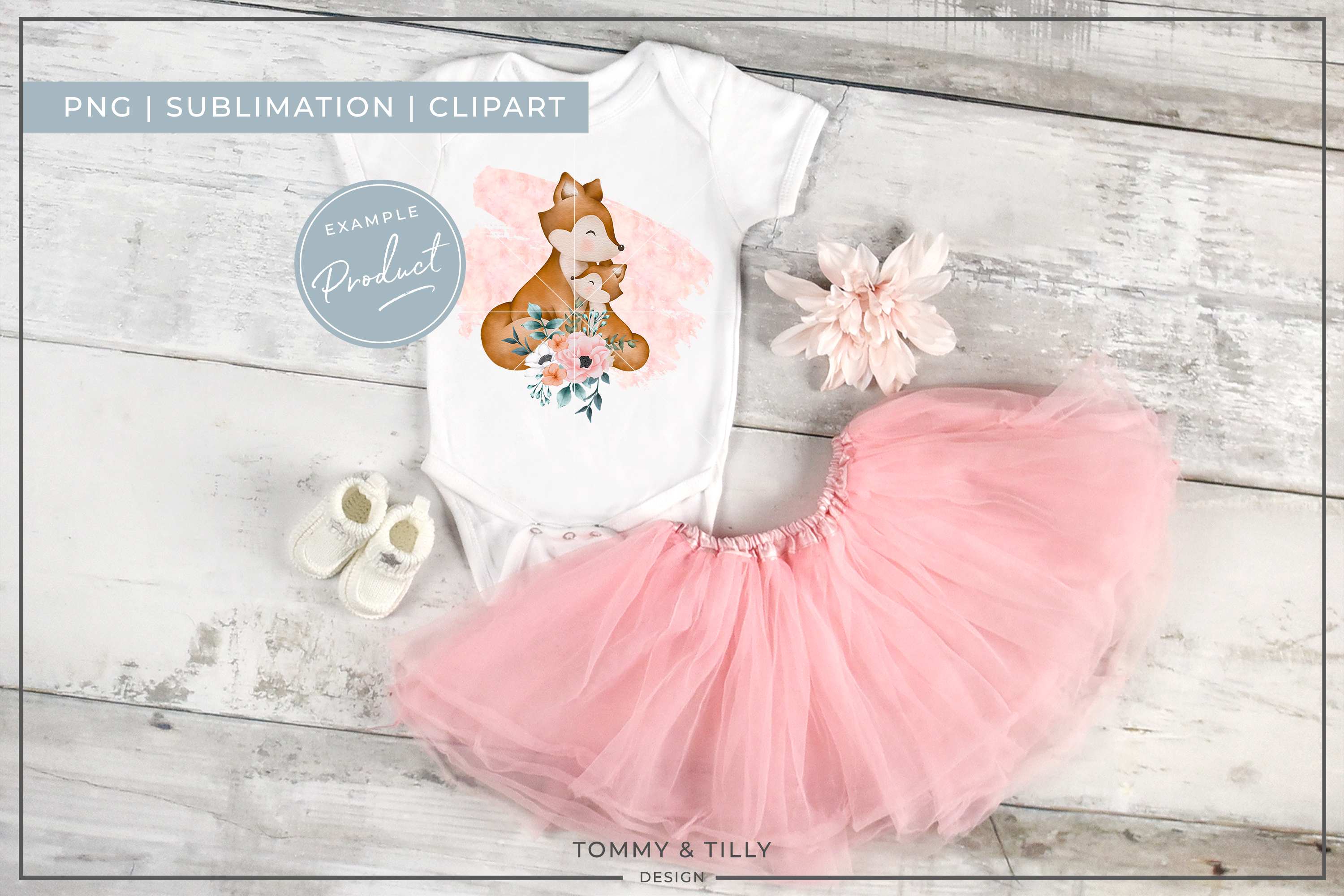 Floral Pink Mummy and Baby Fox - Sublimation PNG Clipart example image 4