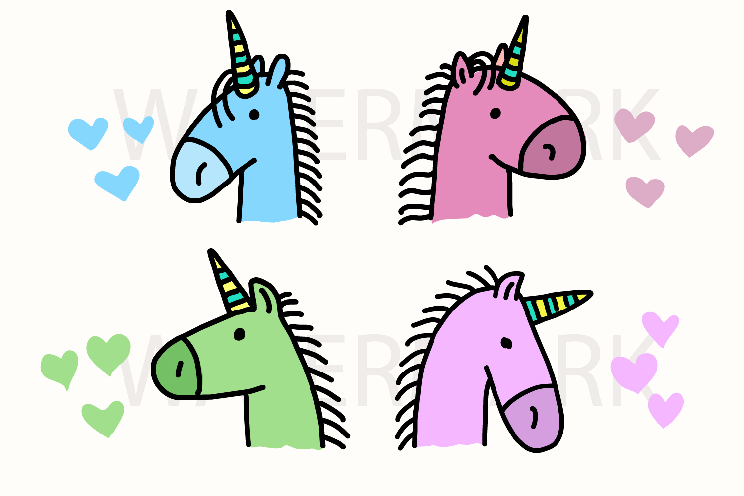 Bundle of 4 Rainbow Unicorn Head Love Love - Color and Outline Version - SVG/JPG/PNG Hand Drawing example image 1