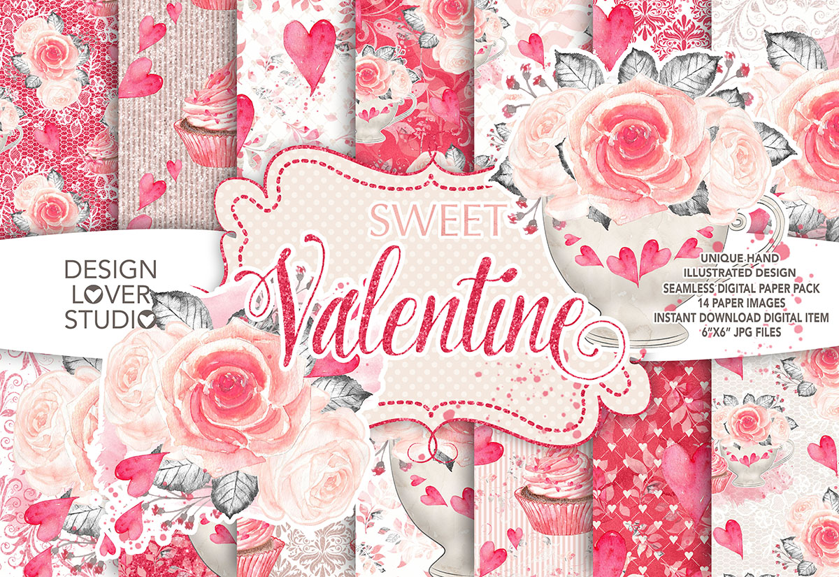 Watercolor Sweet Valentine digital paper pack 2 example image 1