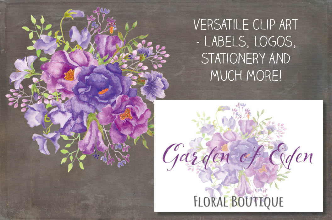 Purple floral sprays in watercolors example image 4