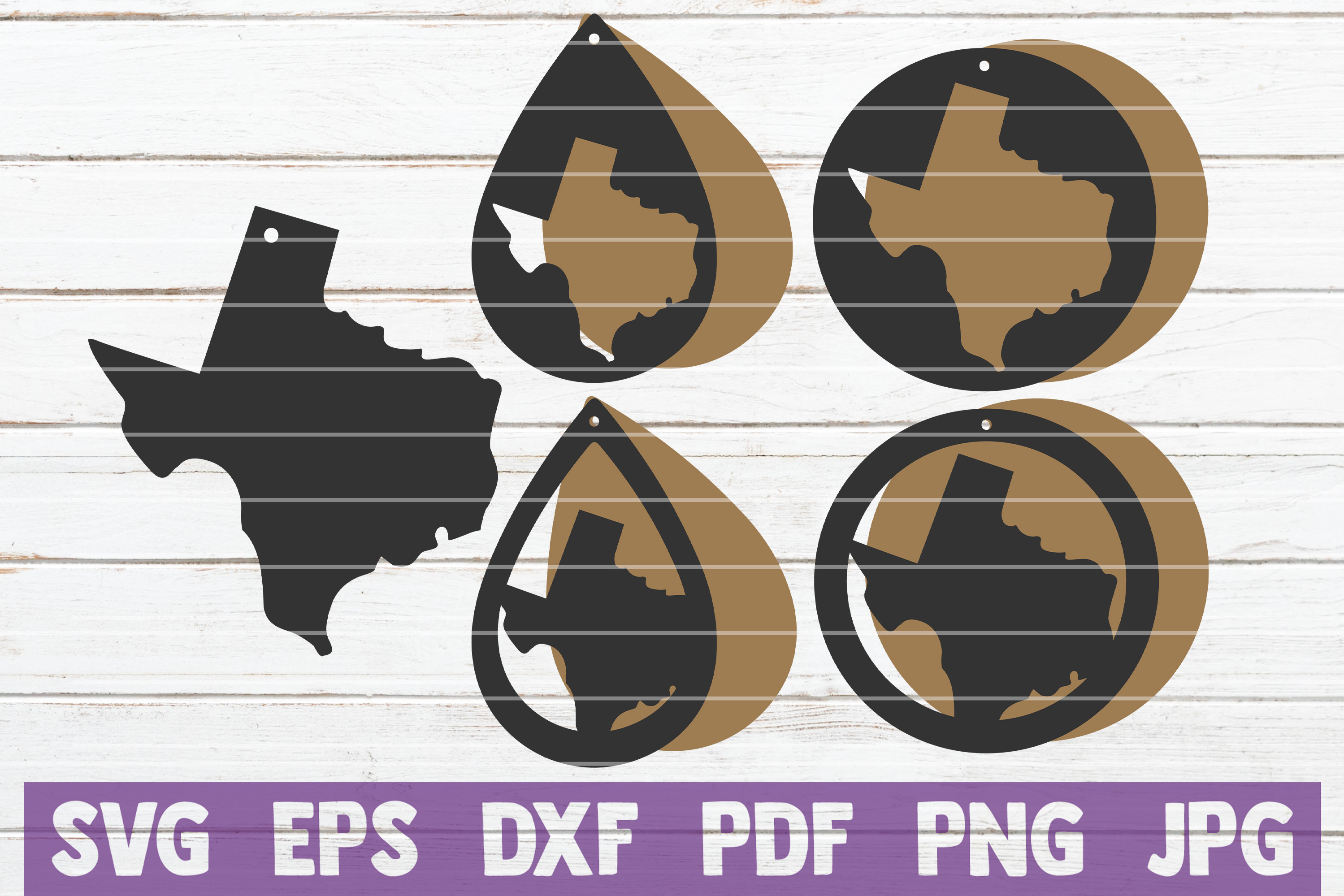 Texas Earring SVG Cut Files   commercial use example image 1