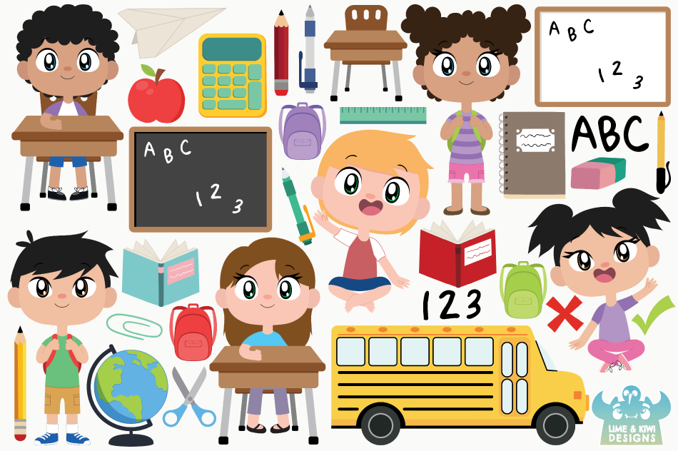 School Clipart, Instant Download Vector Art, Commercial Use example image 2