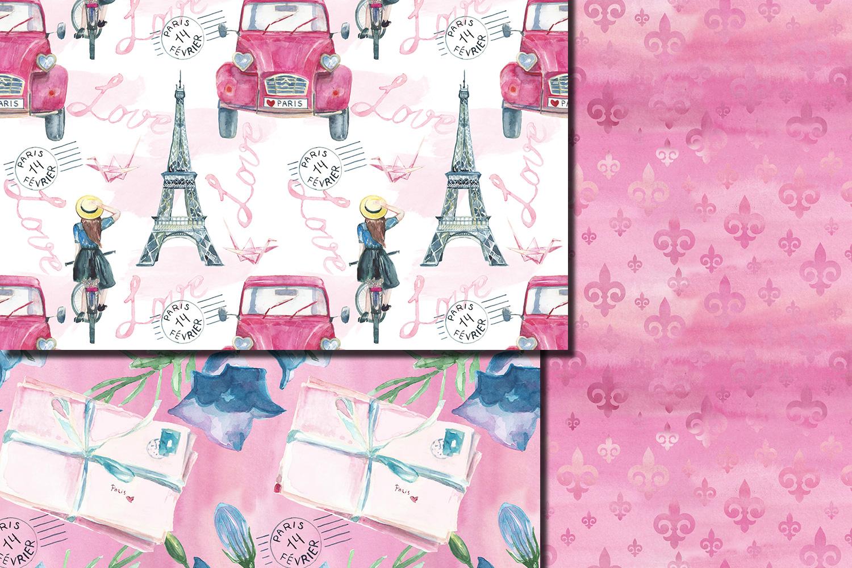 Watercolor Bonjour Paris seamless digital paper pack example image 5