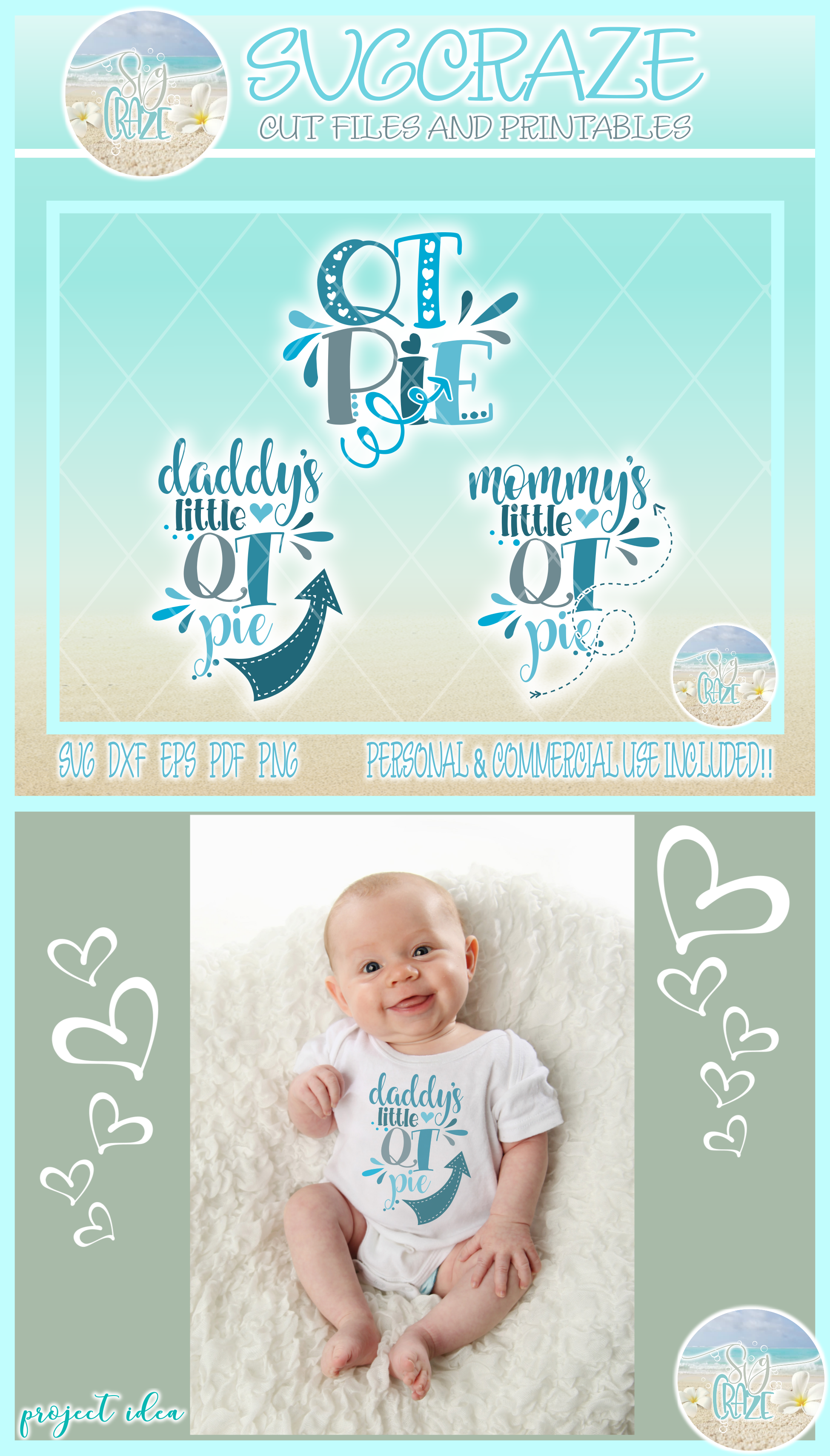 Mommy Daddy Qt Pie Quote Cute Baby Cutie Svg Dxf Eps Png Pdf