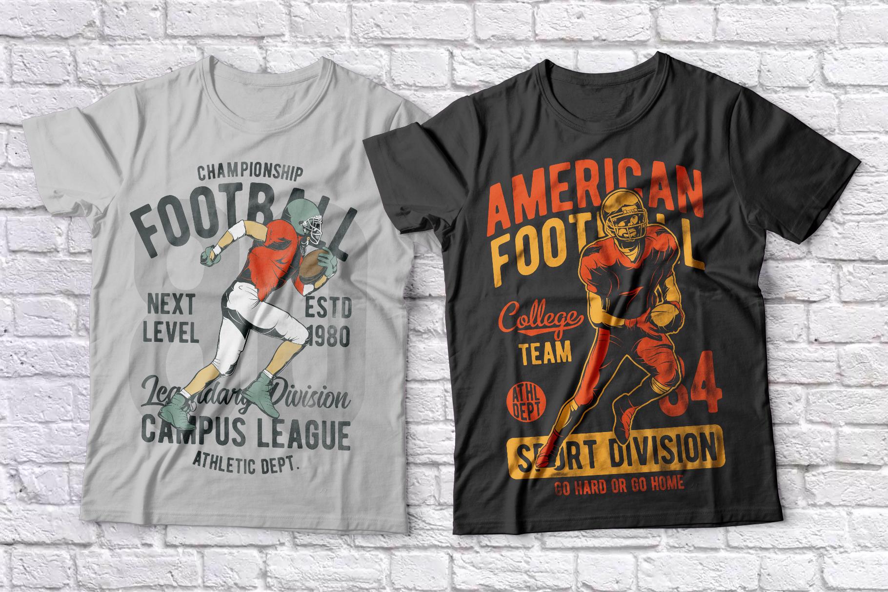 American football t-shirts set example image 3