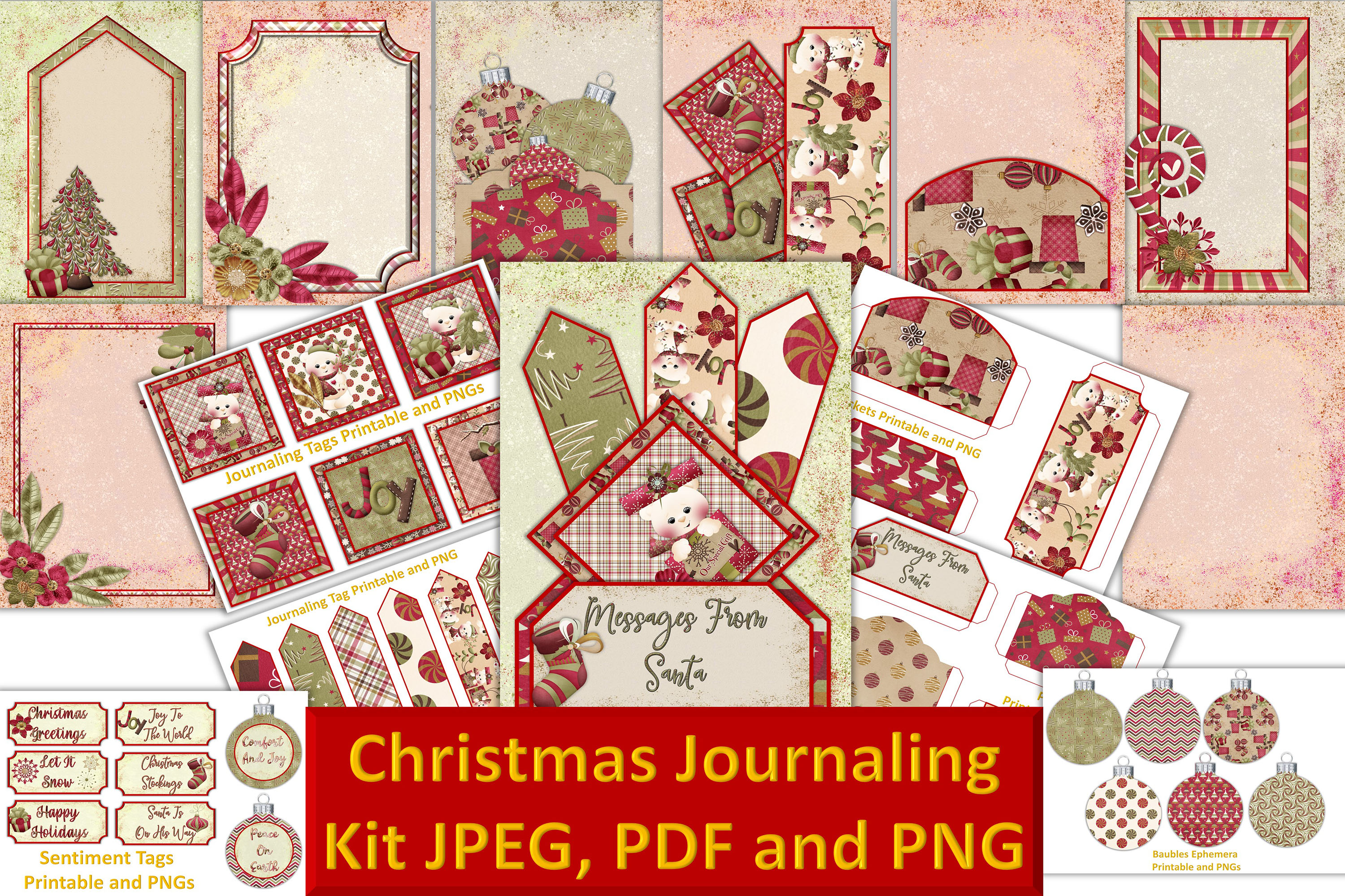 Christmas Journal Kit JPEG, PDF and PNG. Commercial Use example image 1