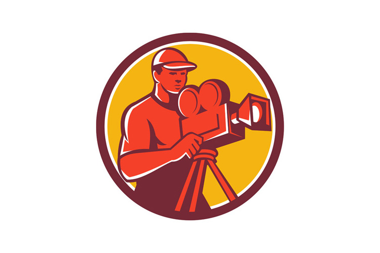 Cameraman Vintage Film Movie Camera Circle Retro example image 1