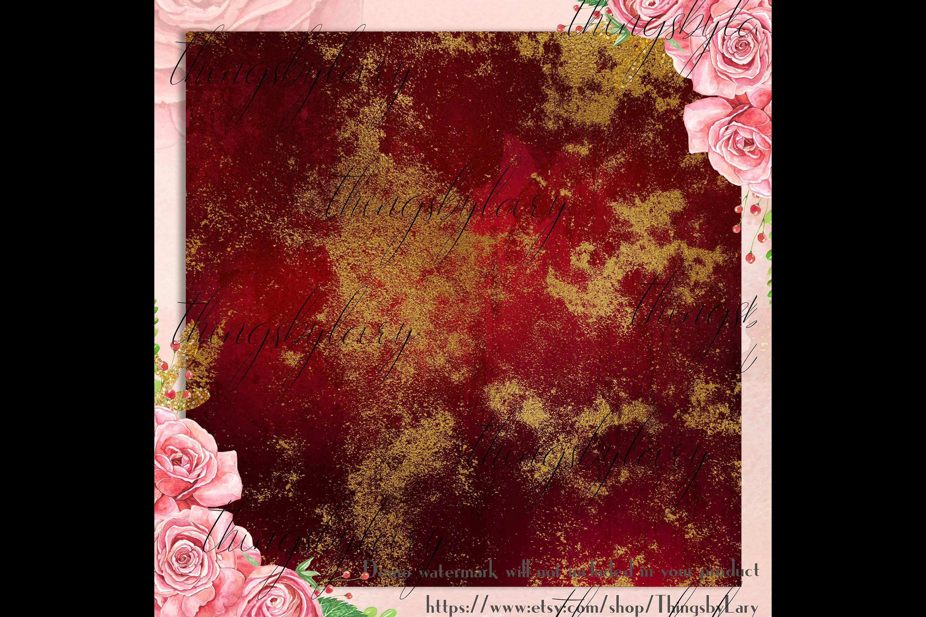 16 Distressed Red and Gold Artistic Painted Digital Papers example image 3