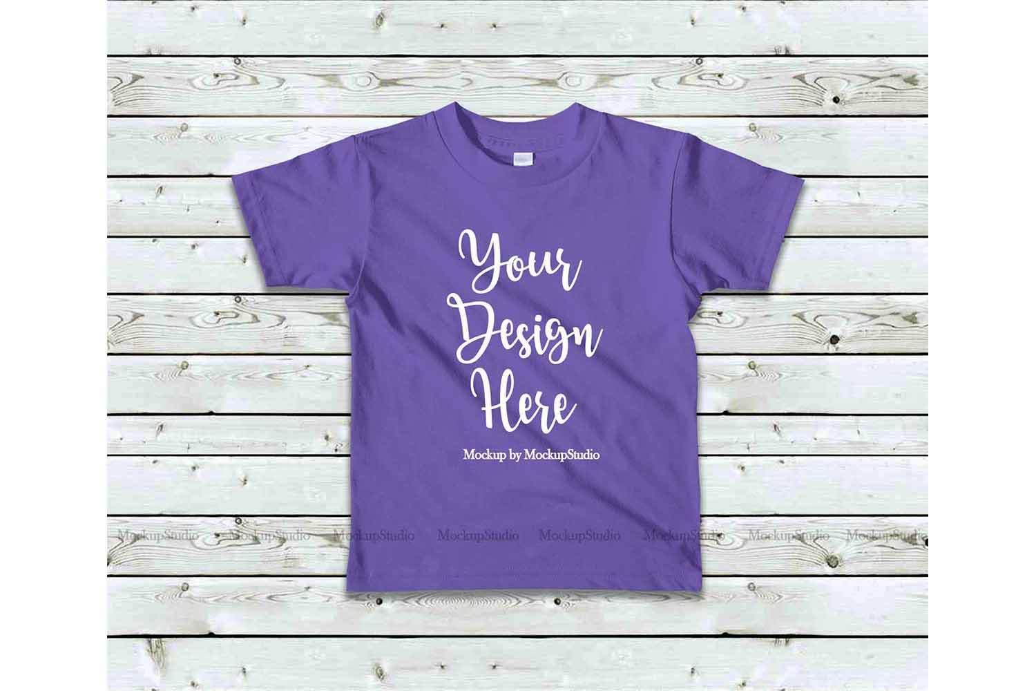 Kids Purple Tshirt Mockup, Toddler Shirt Flat Lay Mock example image 1