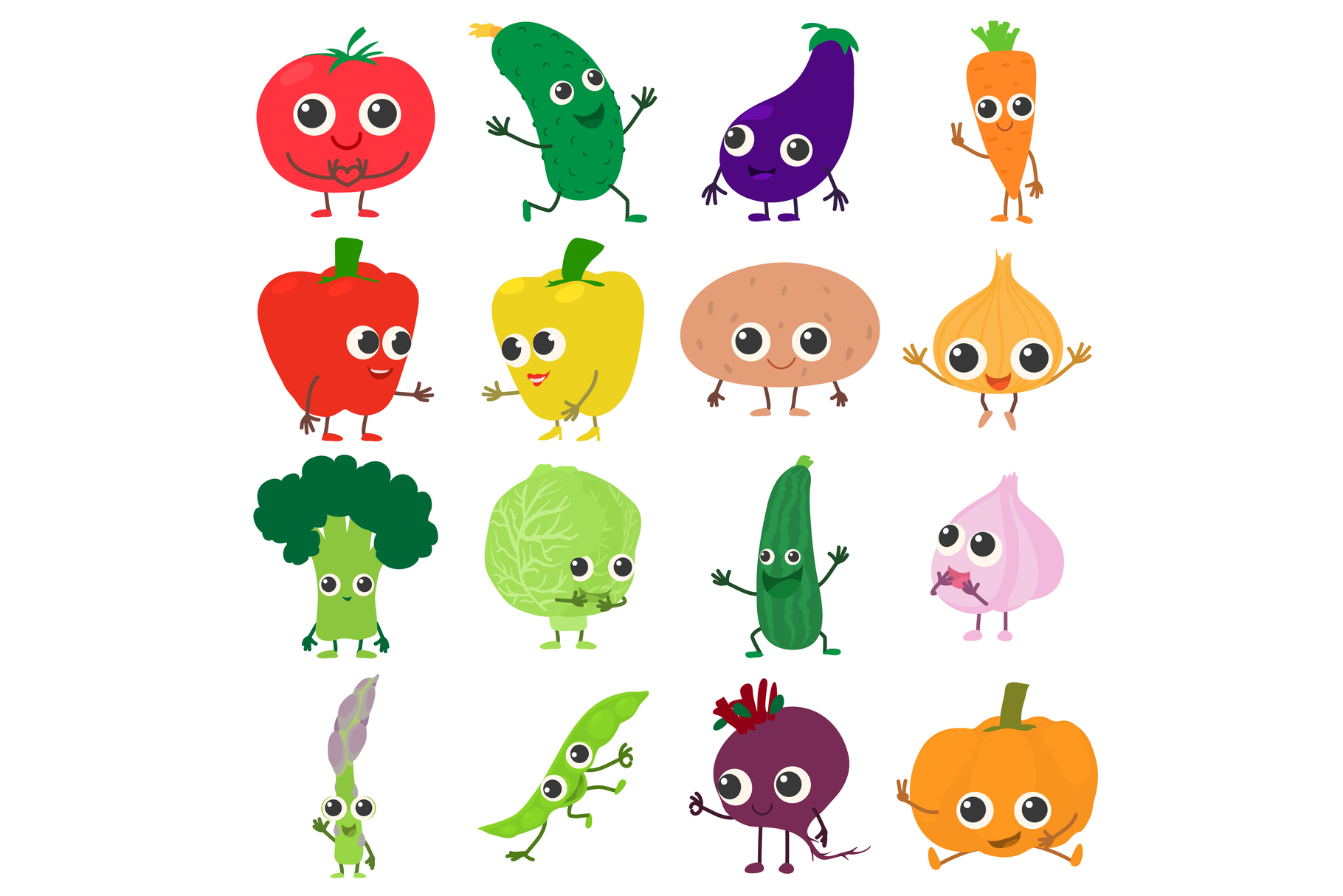 Smiling vegetables icons set, cartoon style example image 1