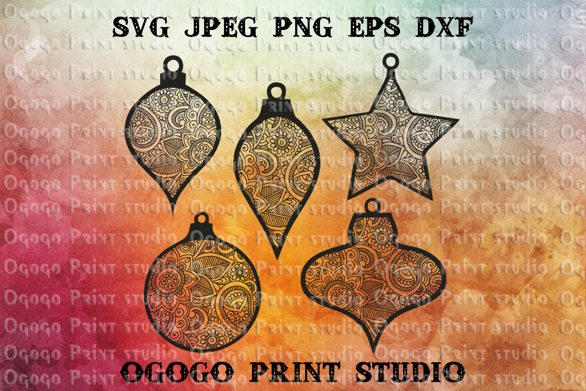 Ornaments Svg Bundle, Christmas svg, Mandala svg, Zentangle example image 1