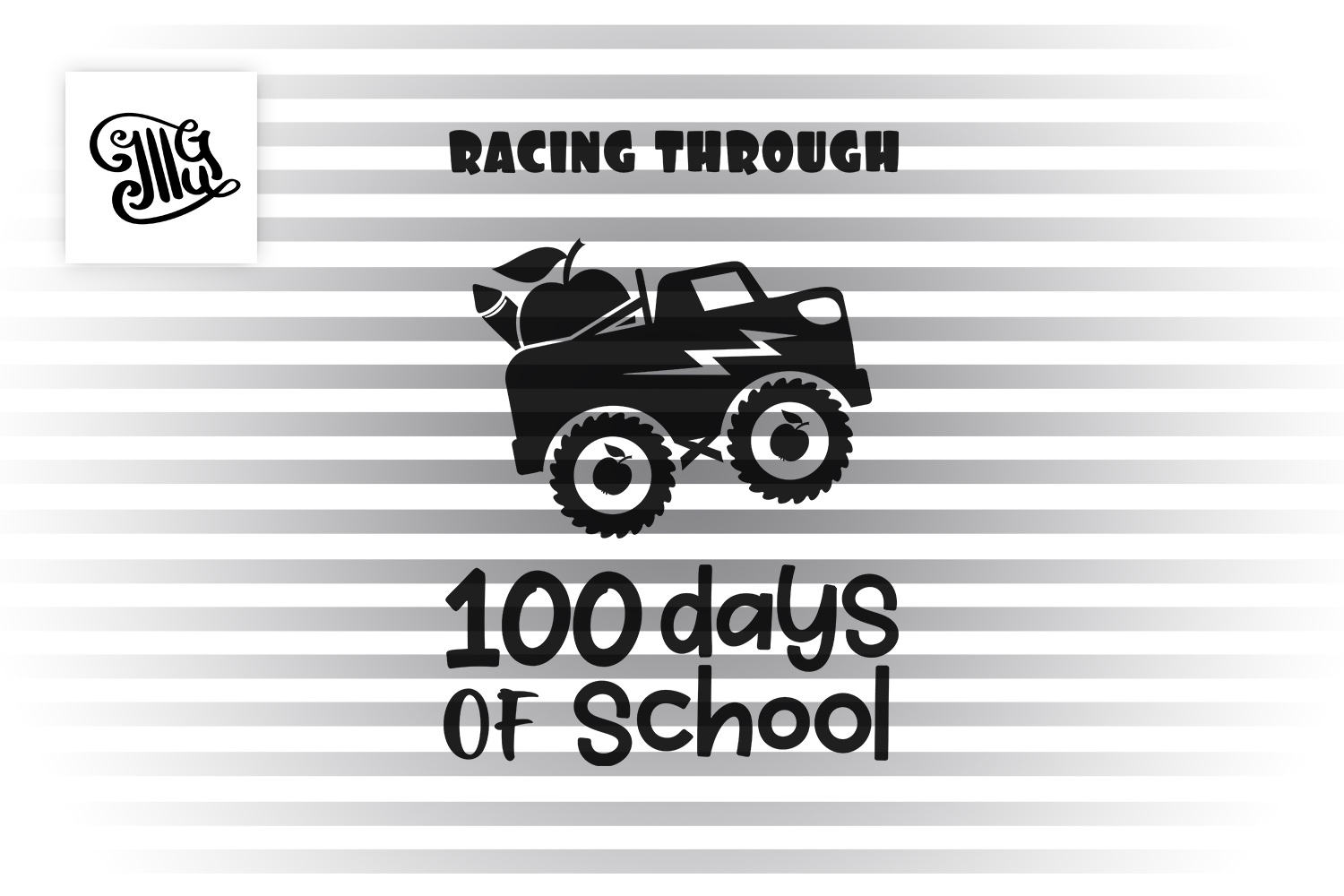 Racing through 100 days of school svg example image 2
