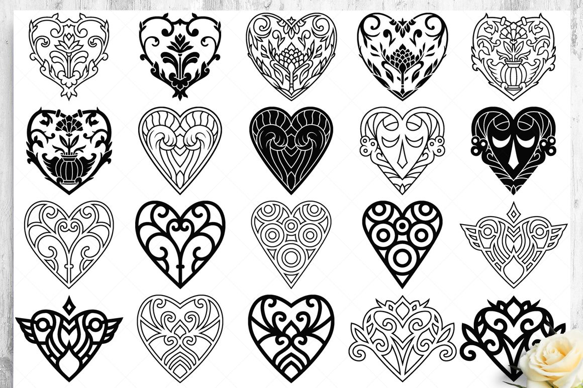 100 Heart Vector Ornaments and Seamless Patterns example image 12