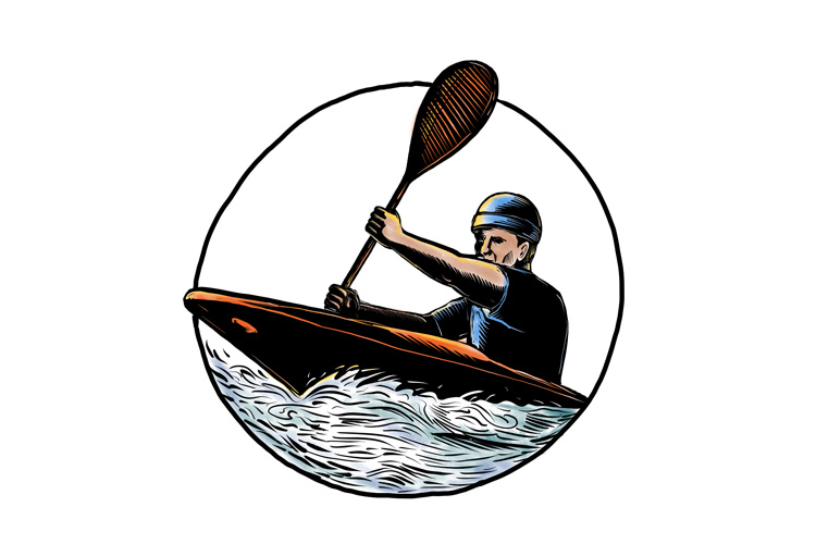 Kayak Paddler Canoe Scratchboard example image 1