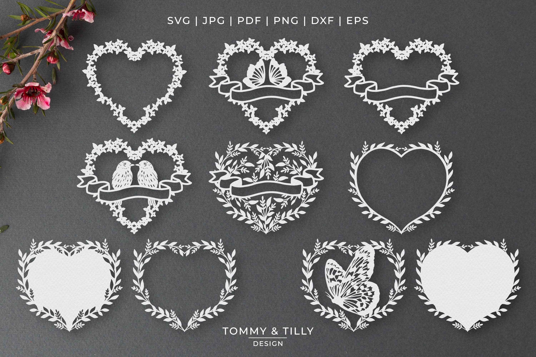 30 Designs! Romantic Hearts Bundle- SVG EPS DXF PNG PDF example image 4