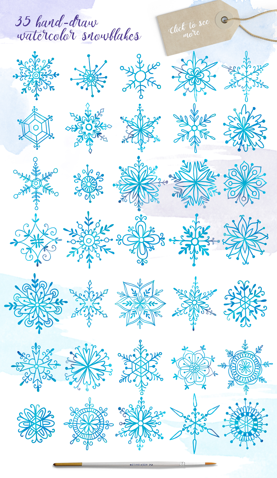 Watercolor snowflakes example image 2