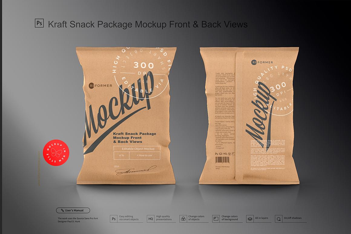 Kraft Snack Package Mockup Front & Back Views example image 4