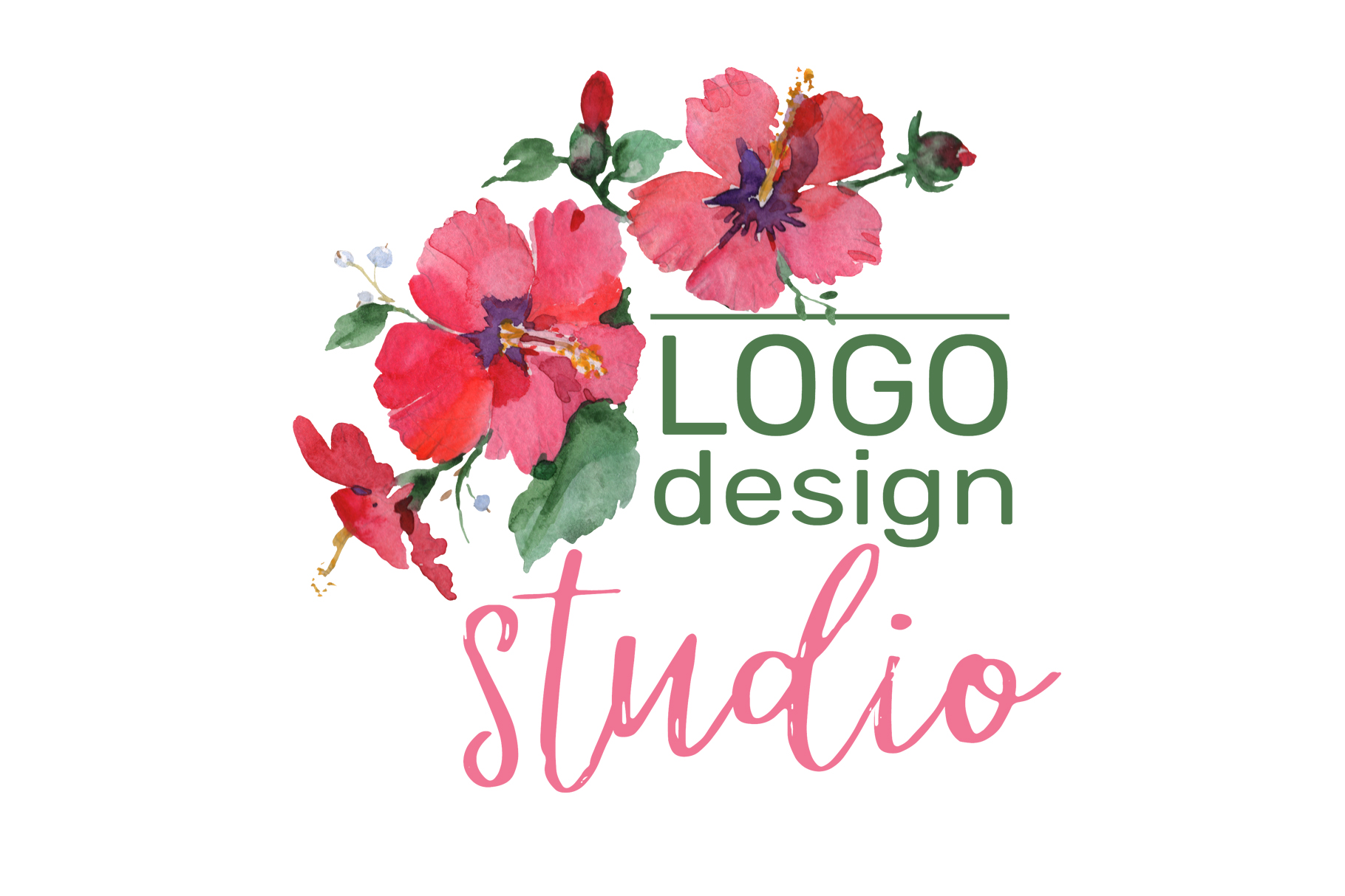 LOGO with red hibiscus and bluebells Watercolor png example image 4