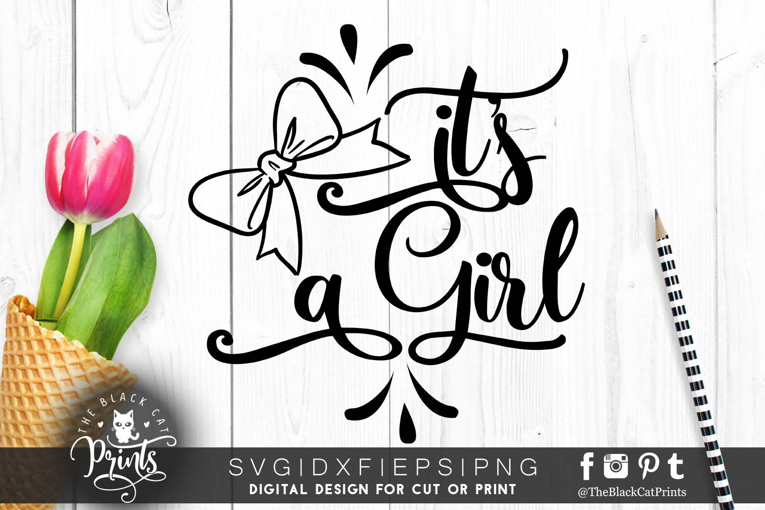It's a girl with Bow SVG PNG EPS DXF example image 2