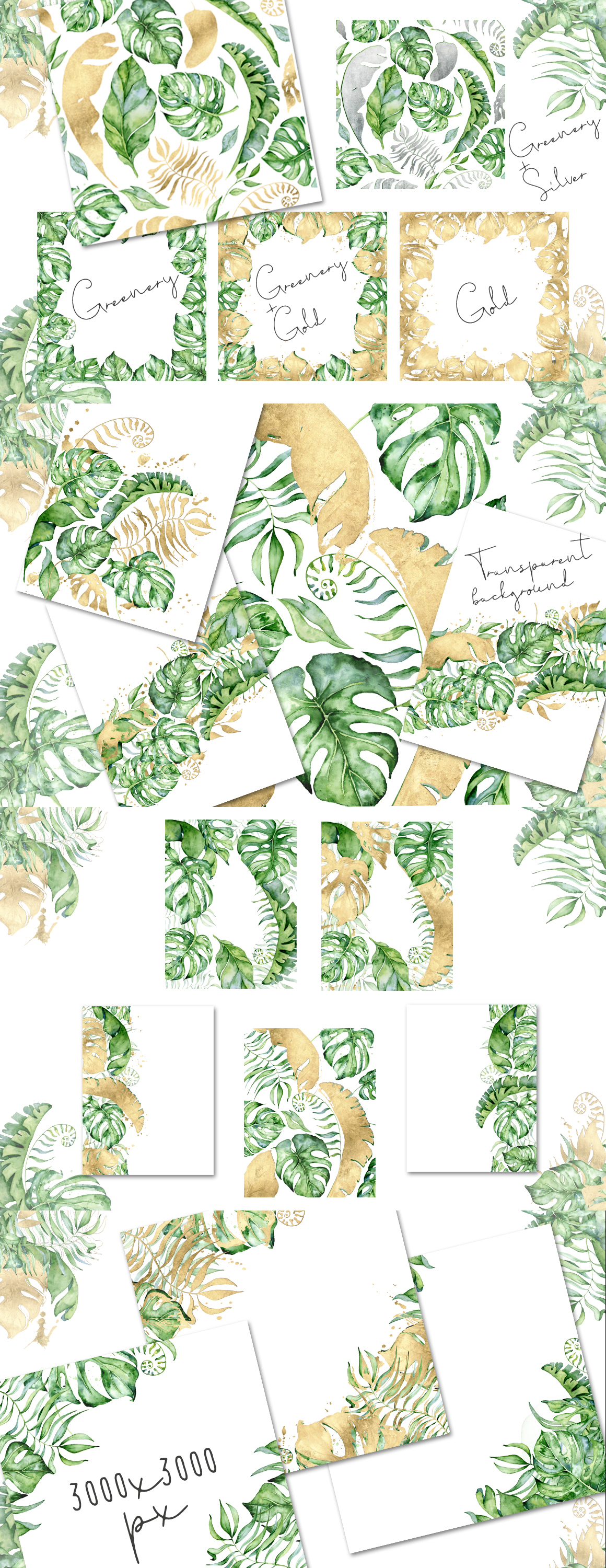 Mistery Monstera - tropical leaves watercolor illustration example image 27
