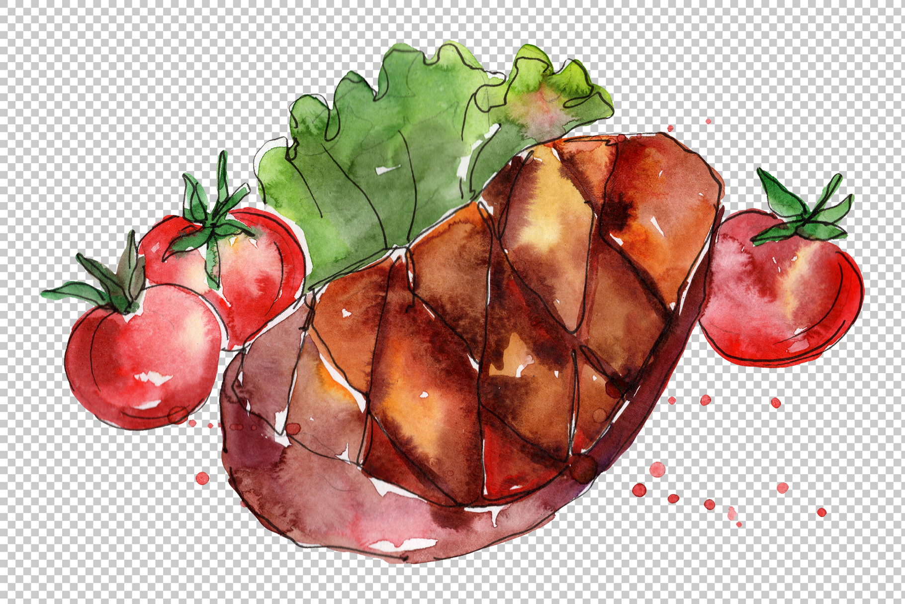 Steak Watercolor png example image 7