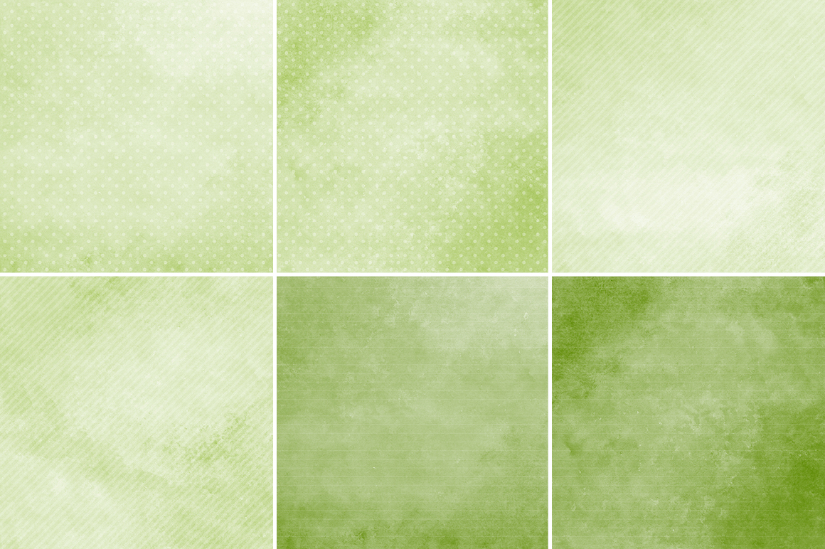 Watercolor Texture Backgrounds With Dots & Stripes - Green example image 2