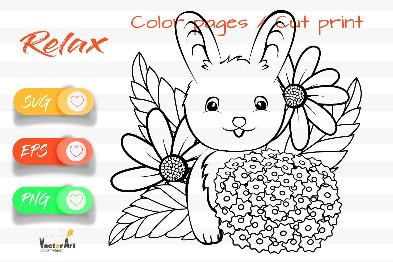Sweet Bunny - Cut File and Coloring Page example image 1