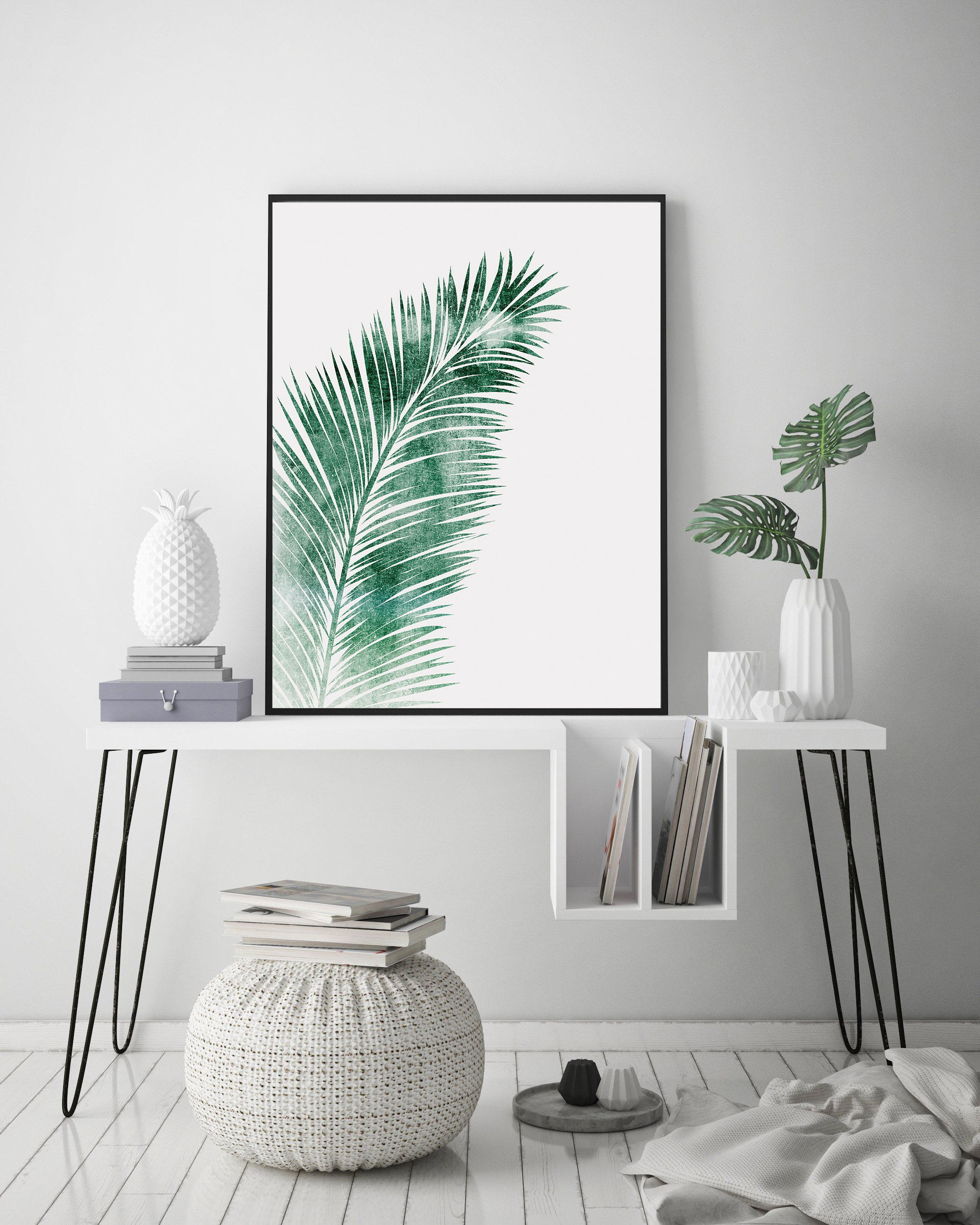 Green Palm Leaf Wall Art, Tropical Leaf for Living Room example image 2