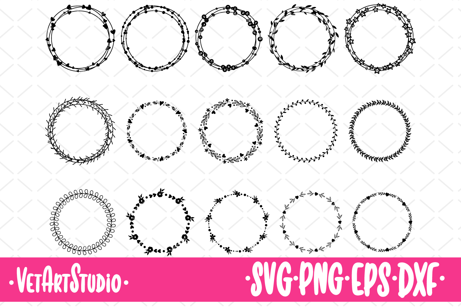 15 Round frames, circle laurel SVG, collection vector frames example image 1