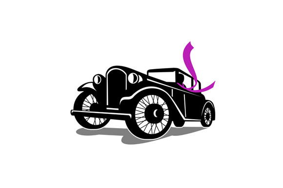 Vintage Coupe With Flowing Scarf Retro example image 1