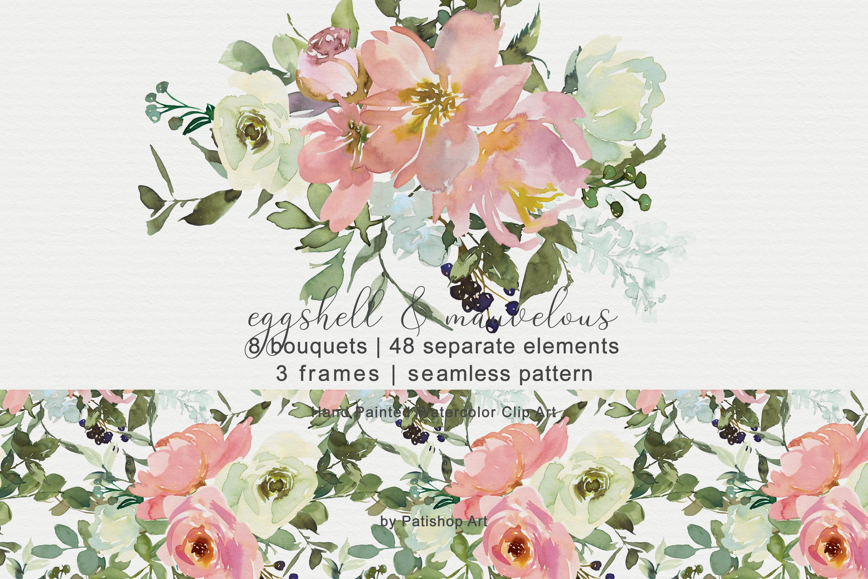Eggshell Blush Watercolor Floral Bouquet Clipart Set