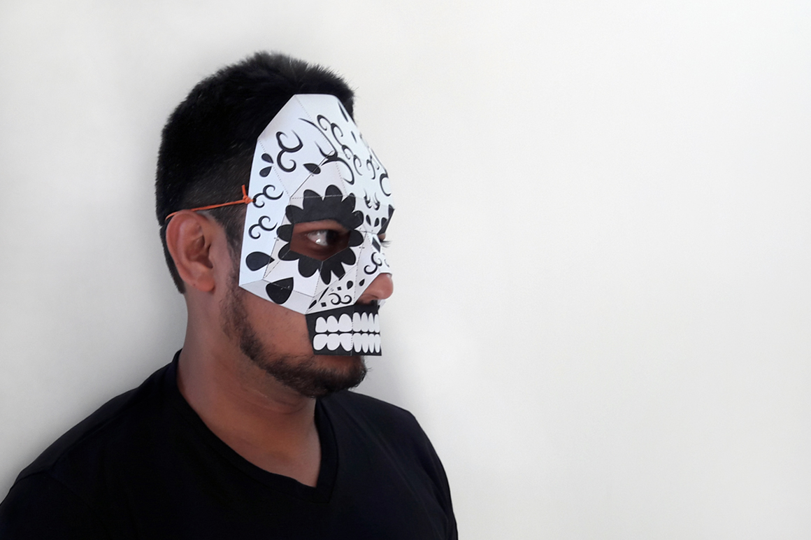 DIY Sugar Skull - 3d papercraft example image 5